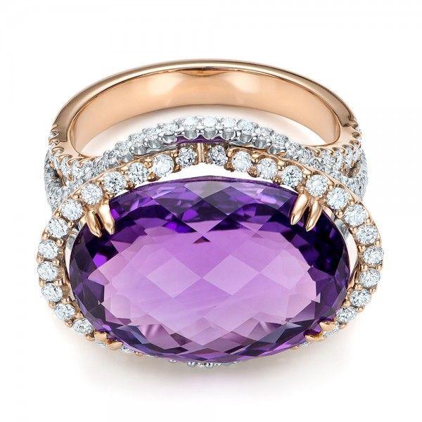 Two-Tone Amethyst and Diamond Halo Fashion Ring - Vanna K at Joseph Jewelry, Bellevue Seattle WA