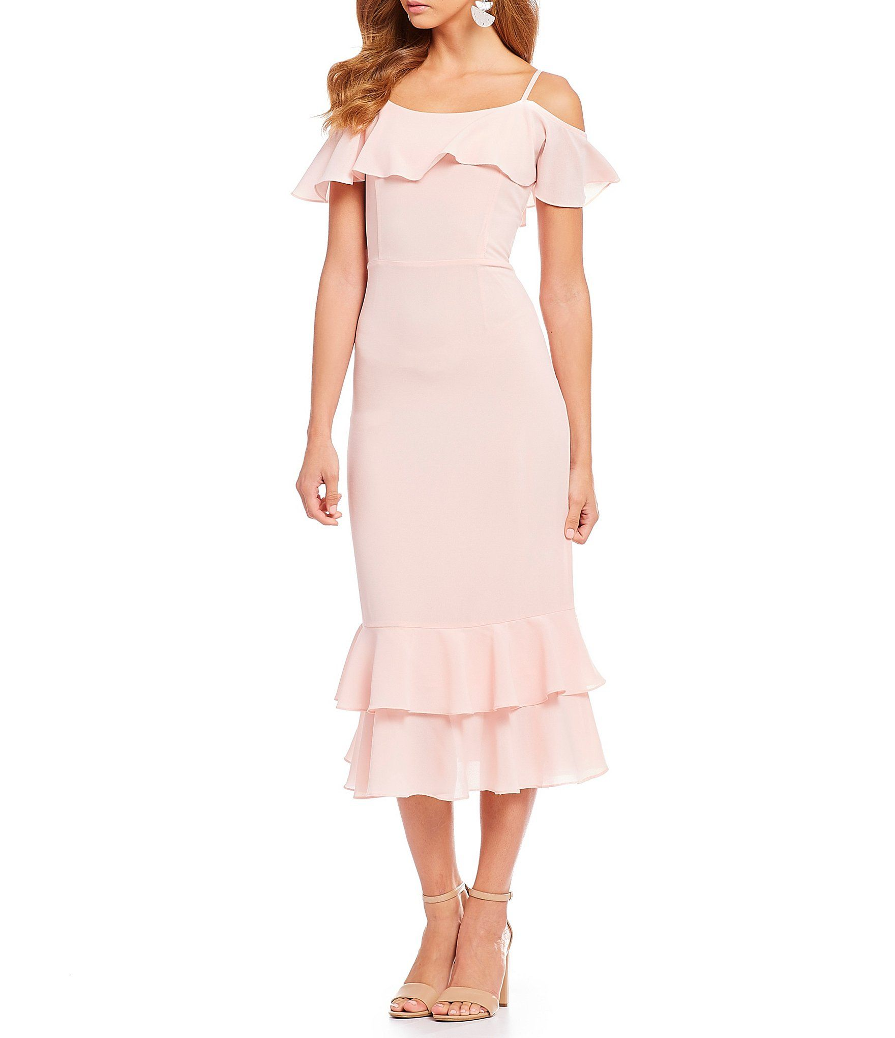 c0cc5dce8a7 Shop for Sugarlips Ruffle Hem Cold Shoulder Midi Dress at Dillards.com.  Visit Dillards.com to find clothing