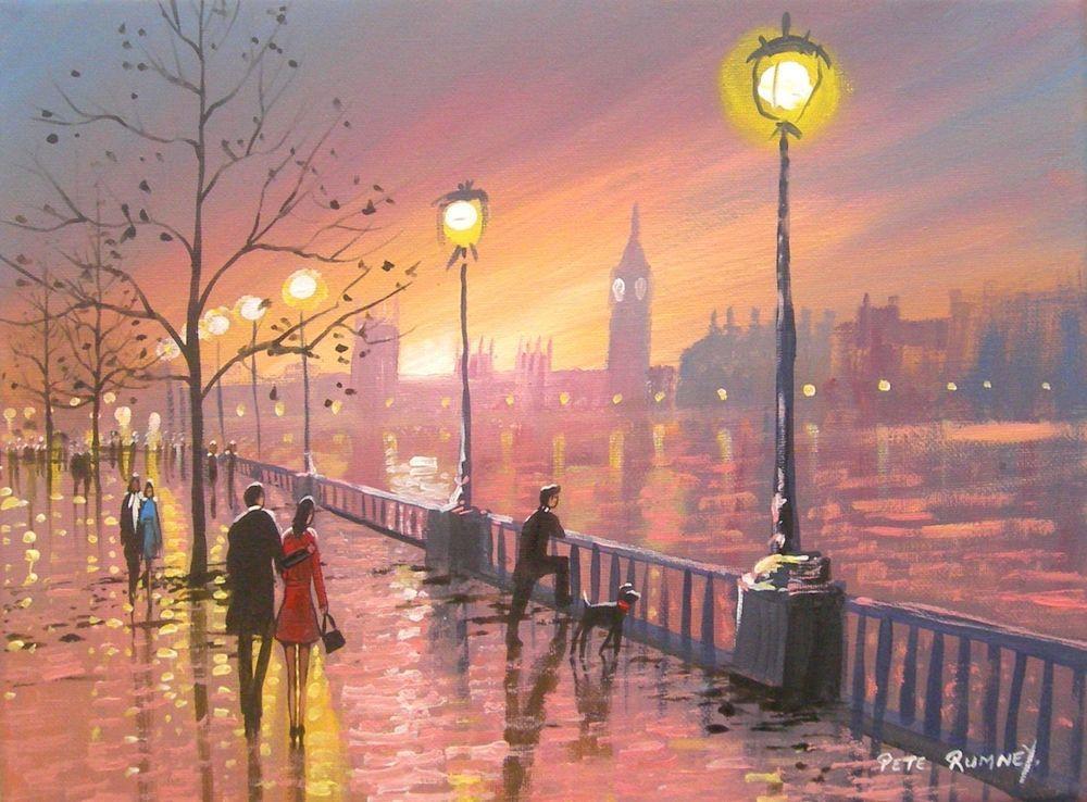 Pete Rumney Art Original Canvas Painting Sunset Thames London Big
