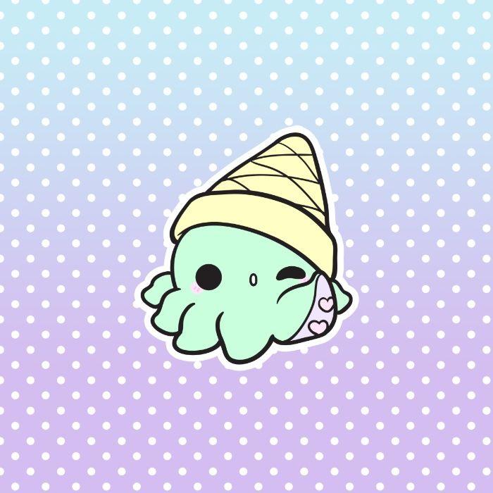 Cute Kawakii Cartoon Ice Cream Wallpaper Octicream Art Print Cute Kawaii Drawings Cute Easy