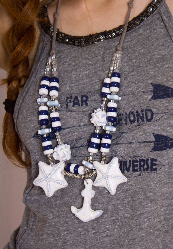 Nautical Anchor Necklace / White and Navy by BossyMossyBeads