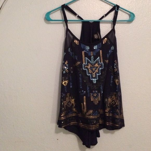 Spaghetti Strap Blue Tank Dark blue with dark blue, gold, and light blue sequins. Rue 21 Tops Tank Tops