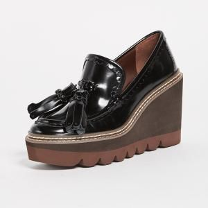 d79ce1e504ef0 See by Chloe Black Leather Nero Zina Wedge Loafers - 50% Off ...