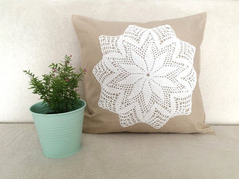Beige Pillow Cower / Handmade White Doily / Boho Decor / Sofa Decoration / Country Style / Chair Pillows / Balcony Porch Armchair Decor
