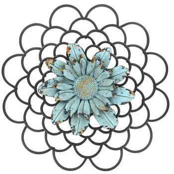 Black Metal Wall Decor with Blue Flower Center | Happiness and House ...