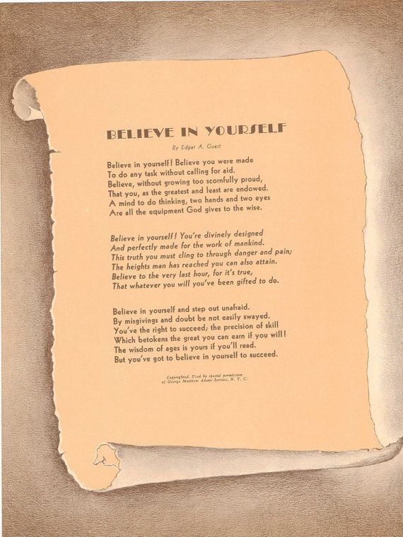 Vintage Art Print Believe in Yourself Poem by by