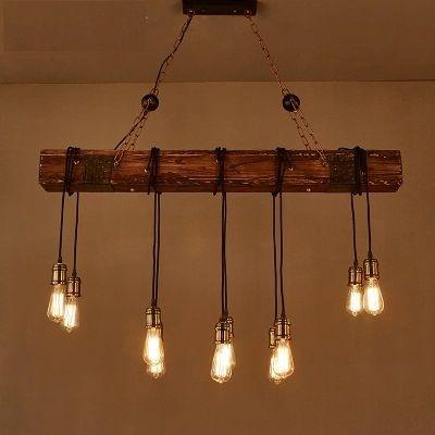 Loft Stil Kreative Holz Droplight Edison Vintage Anhanger Leuchten Fur Esszimmer Hangelampe Innenbele Rustikaler Kronleuchter Holzpendelleuchte Anhanger Lampen