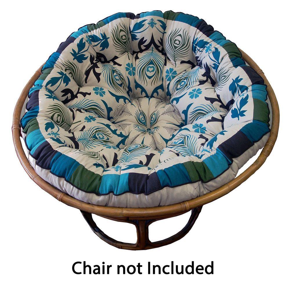 Cotton craft papasan peacock blue overstuffed chair