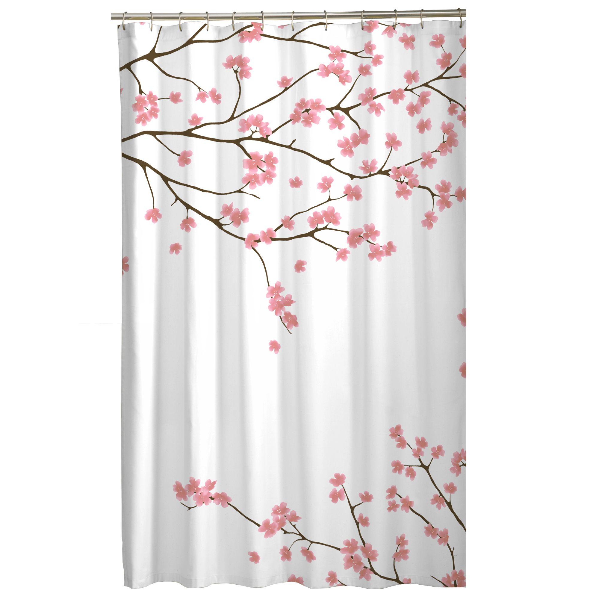 Cherry Blossom Fabric Shower Curtain Bath Accessories Walmart