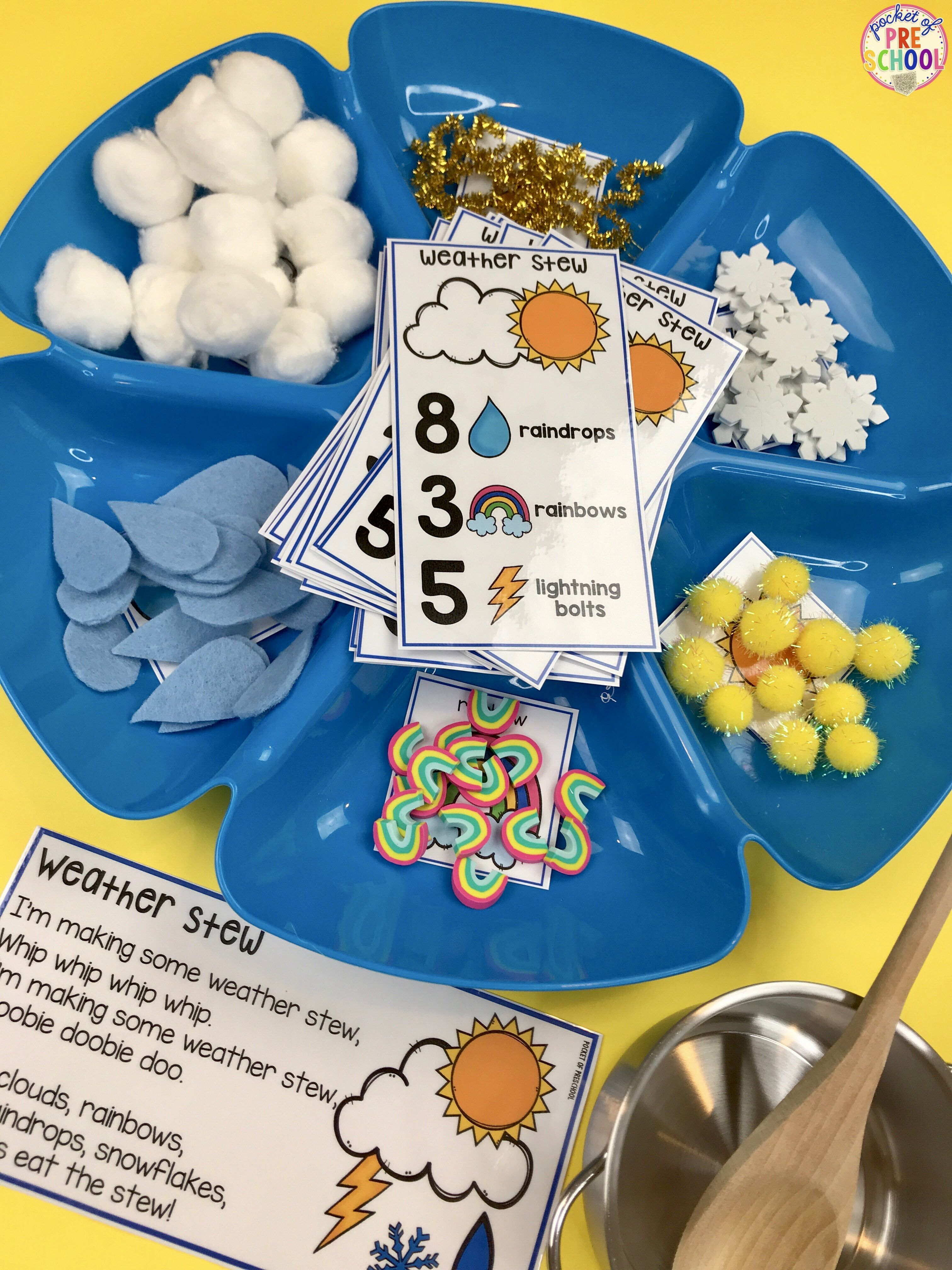 Weather Counting Stew A Fun Game For Preschool Pre K And Kindergarten To Practice Counting