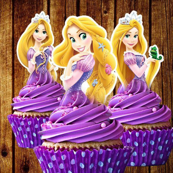 STAMPABILE Rapunzel Cupcake Toppers Aggrovigliato Instant Download Bomboniere Stampabile