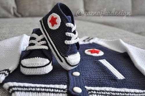 zapatos converse en crochet para bebes