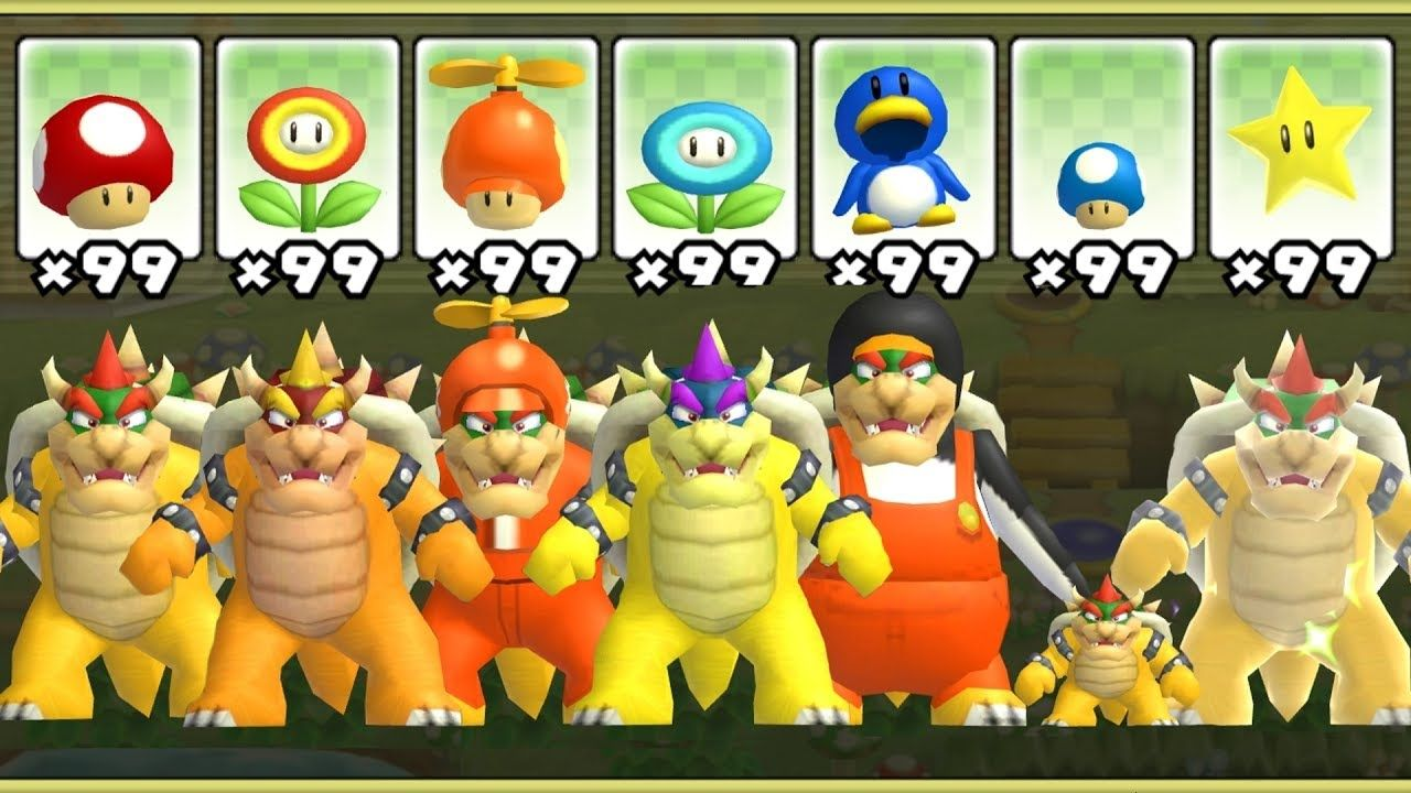 New super mario bros wii all bowser powerups bowser