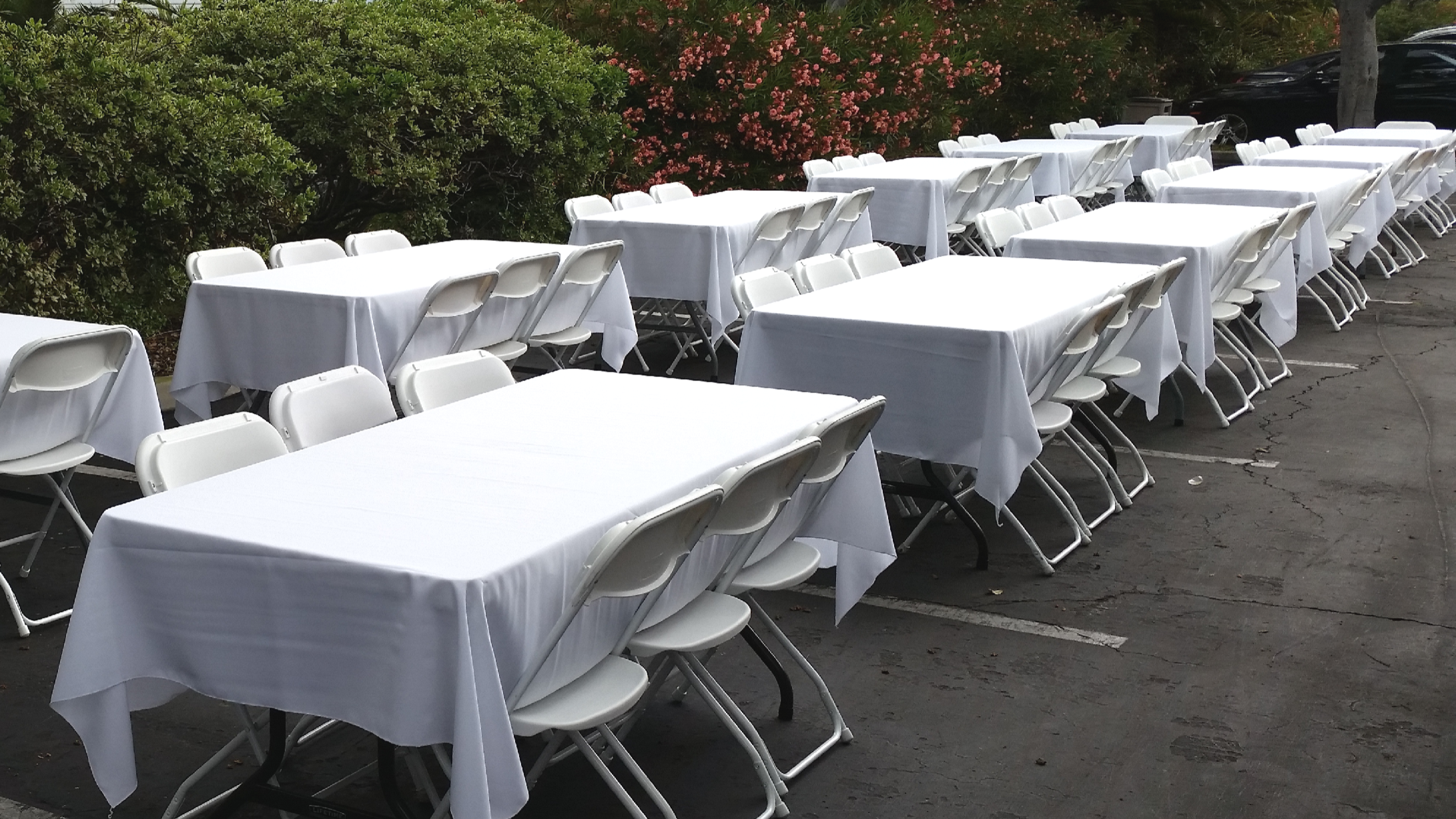 White folding chair & table rentals in Los Angeles