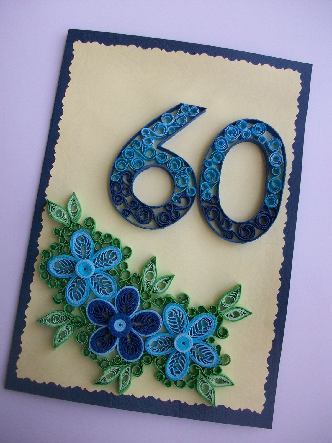 60th Anniversary Quilling card, Personalised 60th birthday card, 60th Birthday card Wife, Mom