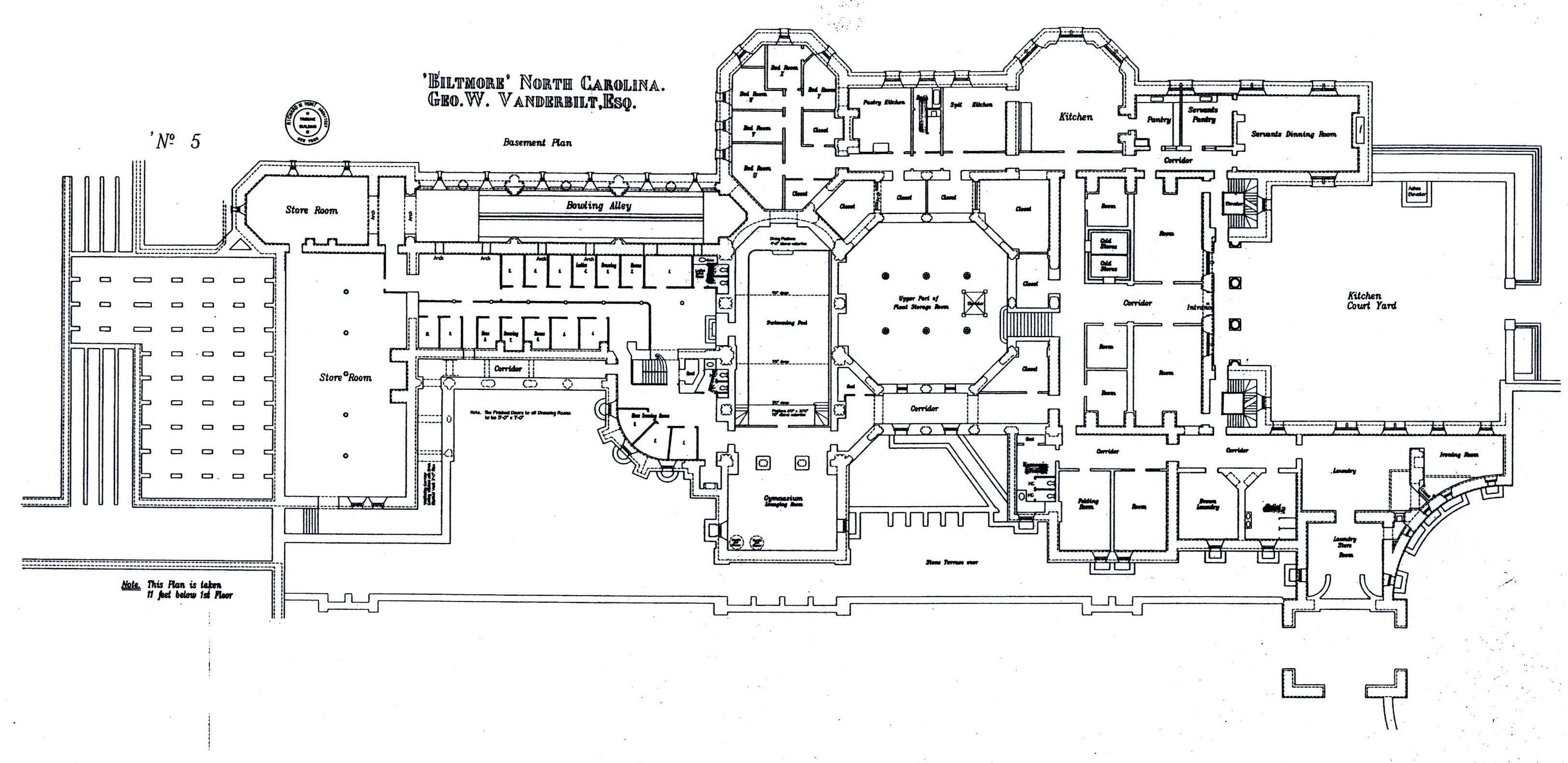 Biltmore house basement floorplan biltmore estate Bowling alley floor plans