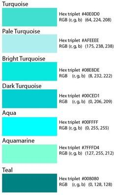 Code Couleur Hexadecimal Pour Le Turquoise I M Going To Have To