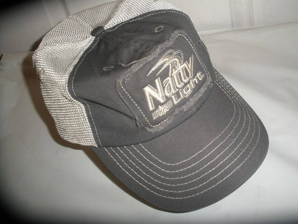 Vintage Style Snap-Back Natty Light Gray with White Mesh Hat Cap Natural  Light  NaturalLight  BaseballCap  NattyLight  beer a69fbe0f6563