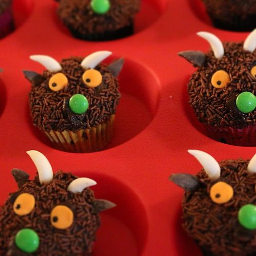 Gruffalo cupcakes! His eyes were orange ...