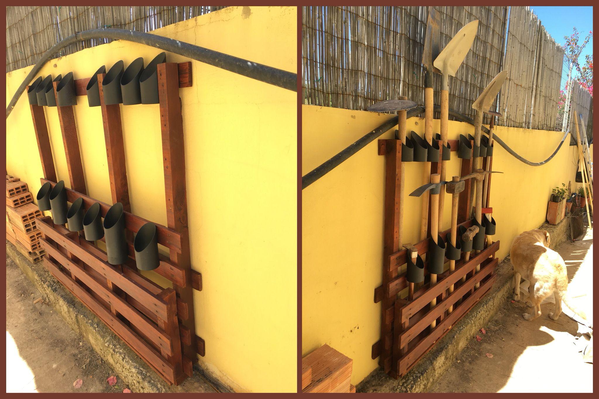 Organizador de ferramentas Reaproveitamento e reciclagem de pallet. Garage/garden organization with pallet.