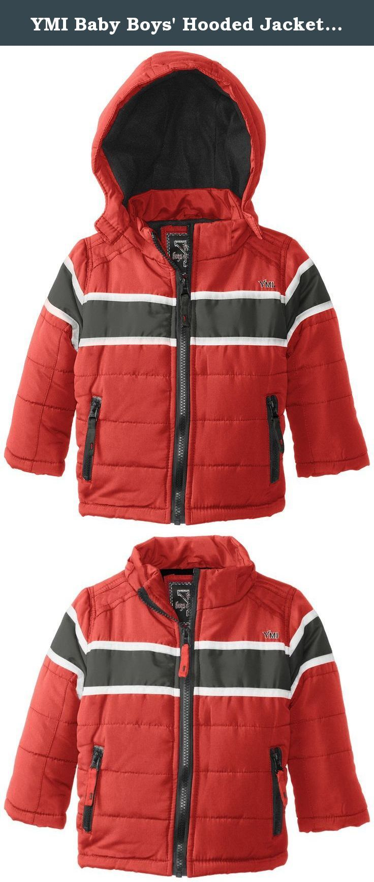 YMI Baby Boys Bubble Jacket with Contrasting Horizontal Racing Stripe