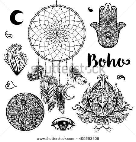 Set of Boho Chic Style Elements Vector illustration Tattoo - tattoo template