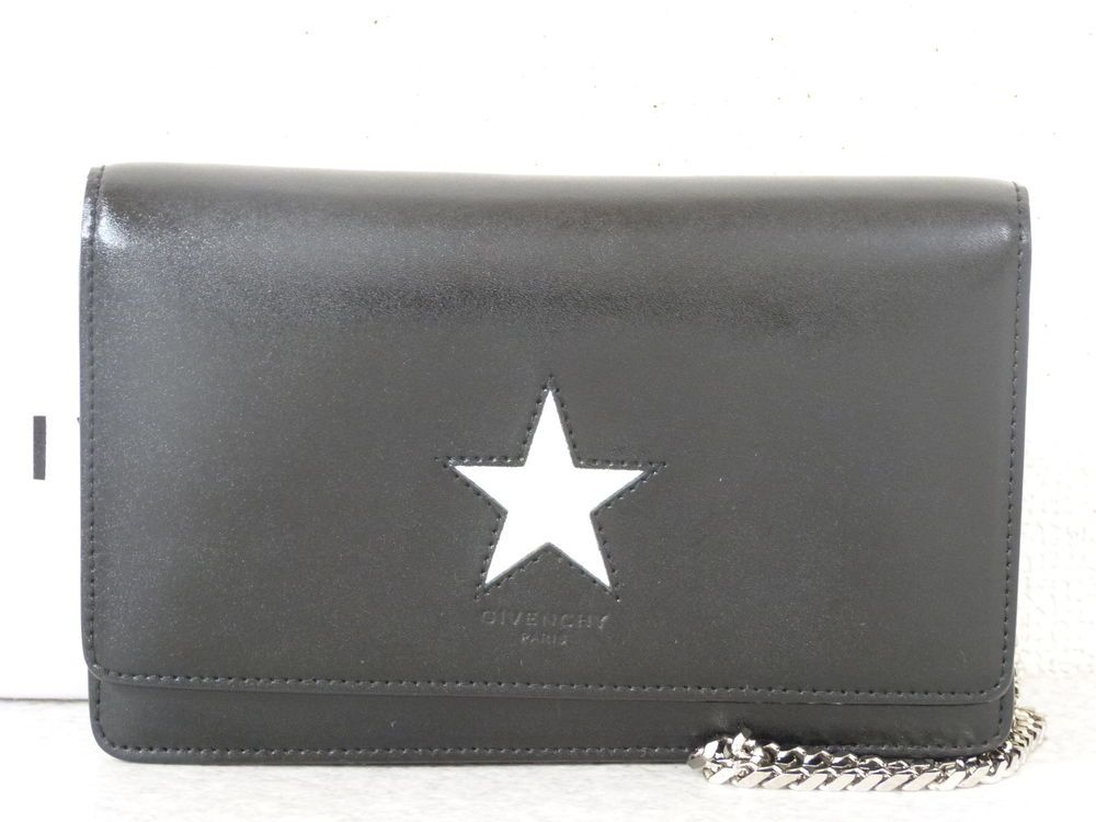 dc55342aa3c r5164 Auth Givenchy Pandora Star Black Leather WOC Wallet On Chain Shoulder  Bag  fashion