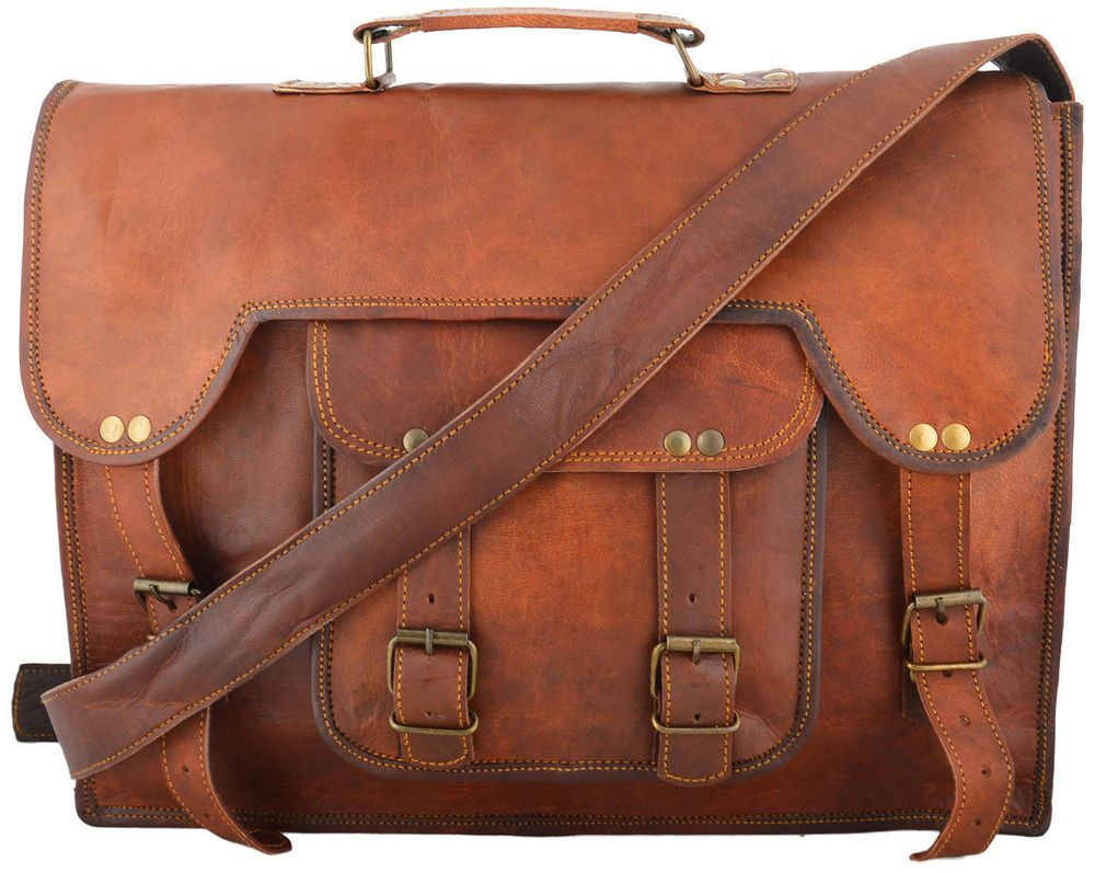 Vintage Messenger Shoulder Briefcase Laptop Bag Leather Men/'s Genuine Brown Goat