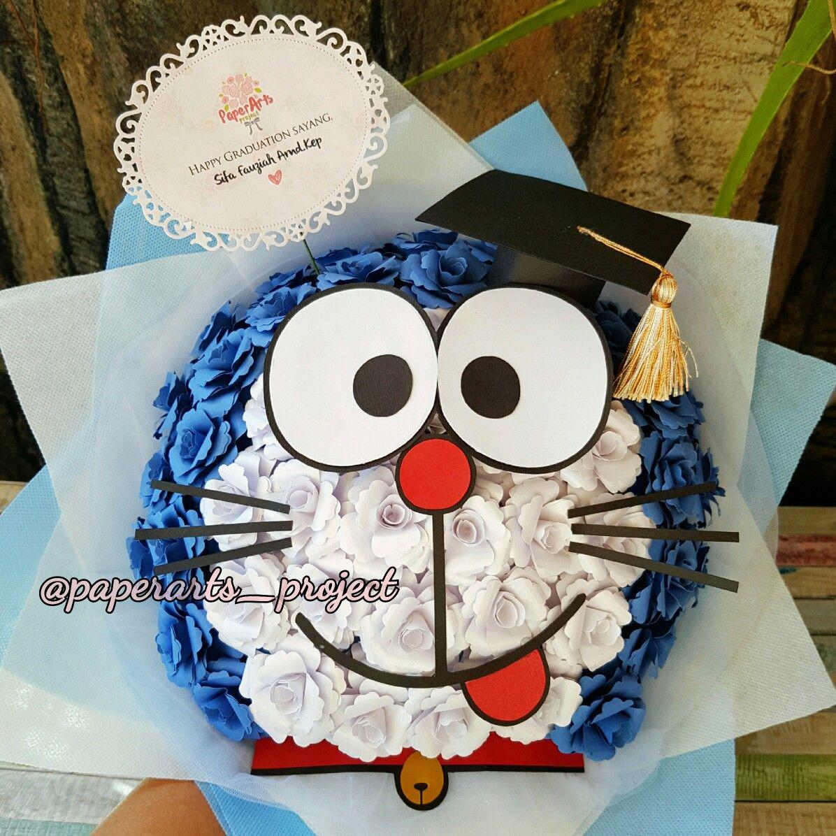 Doraemon Paper Flowers Bouquet Bunga Kain Buket Bunga