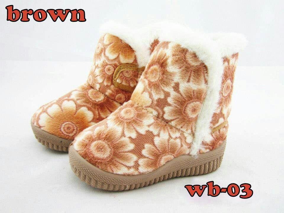Sepatu Boots Winter Import Anak Kode Wb 03 Bloom Flower Brown