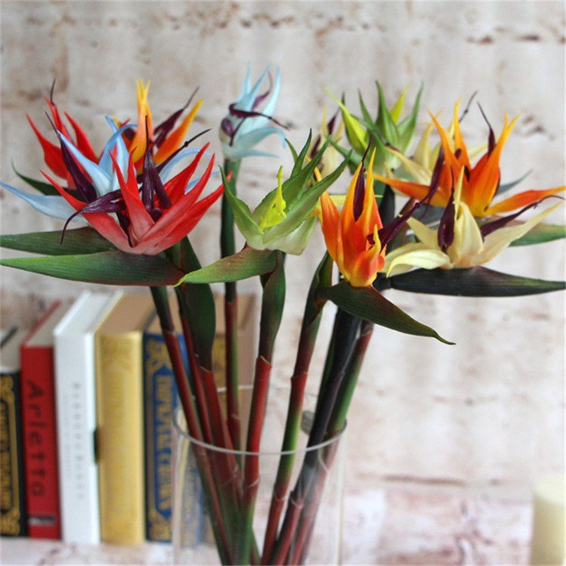 5p Plastic Bird Of Paradise Flower Artificial Strelitzia Reginae Flowers Long Stem 70cm Flamingo For Wedding Centerpieces