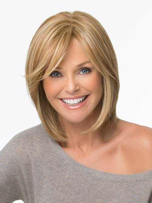 Long Fine Blonde Bob Hairstyle With Side Swept Bangs Cut Hair