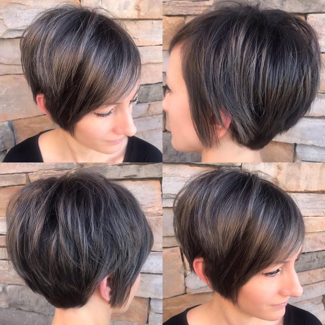 Another Long Pixie The Long Pixie Is Light Free Form And As Its Name Suggests Longer Short Stacked Bob Haircuts Stacked Bob Haircut Short Stacked Hair