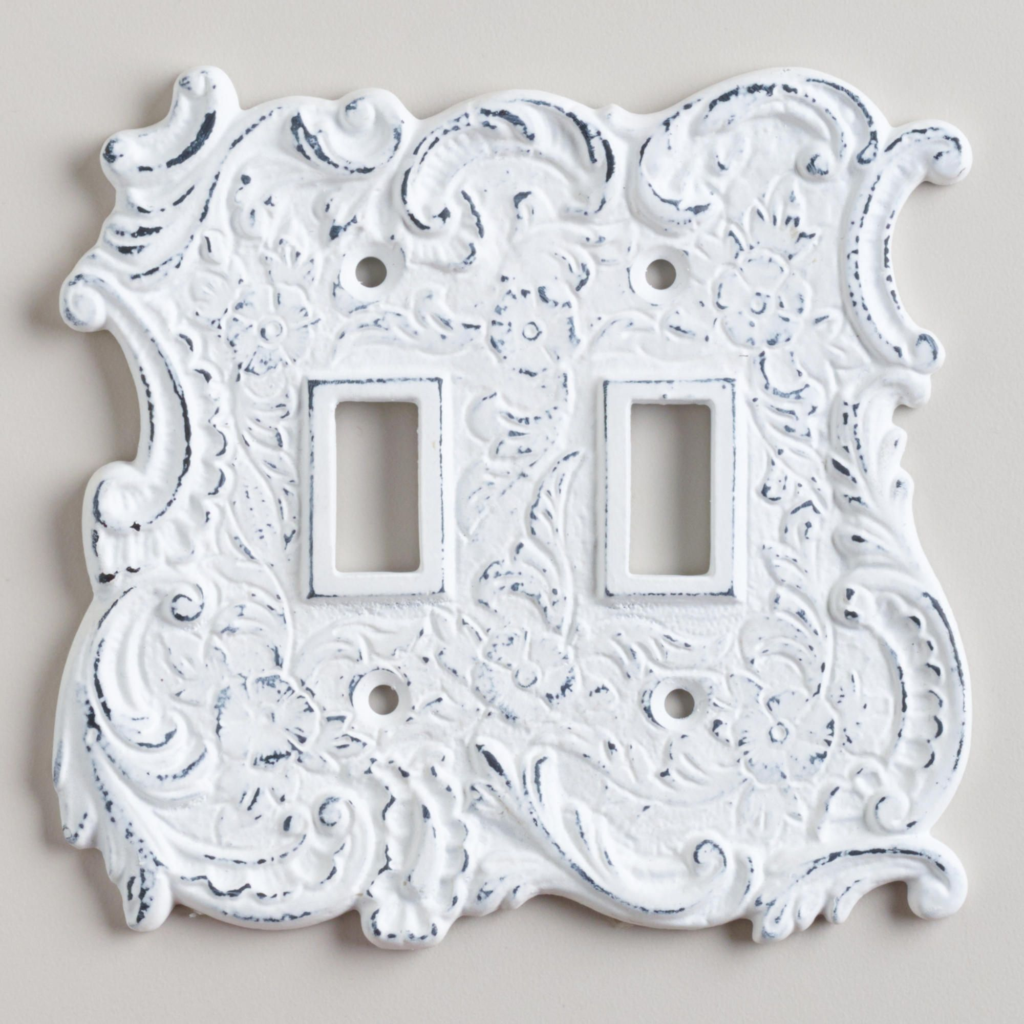 White Decorative Light Switch Covers White Cast Iron Double Switch Plate  $9.99  World Market