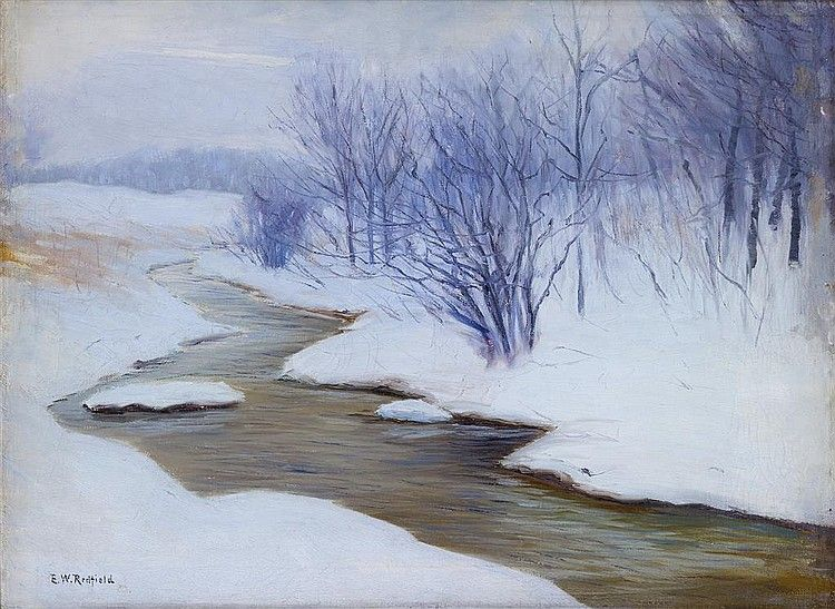 Winter  by Edward W Redfield  Giclee Canvas Print Repro Road to the River