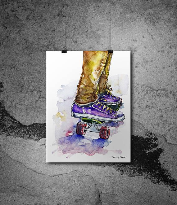 Skateboard Poster Board Print Watercolor Fun Sport Wall