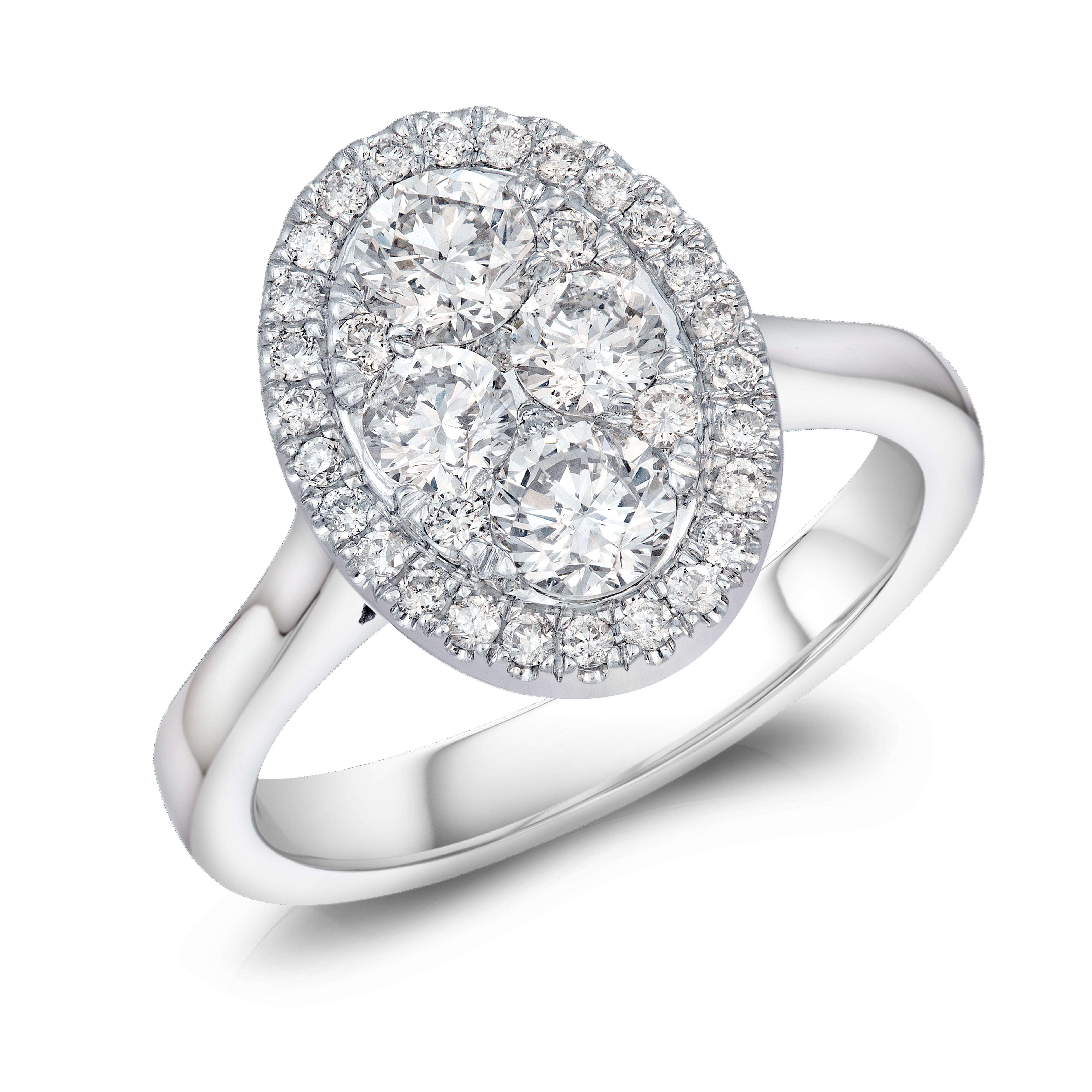 18CT WHITE GOLD OVAL REVERIE DIAMOND RING 1.00CT DIAMOND