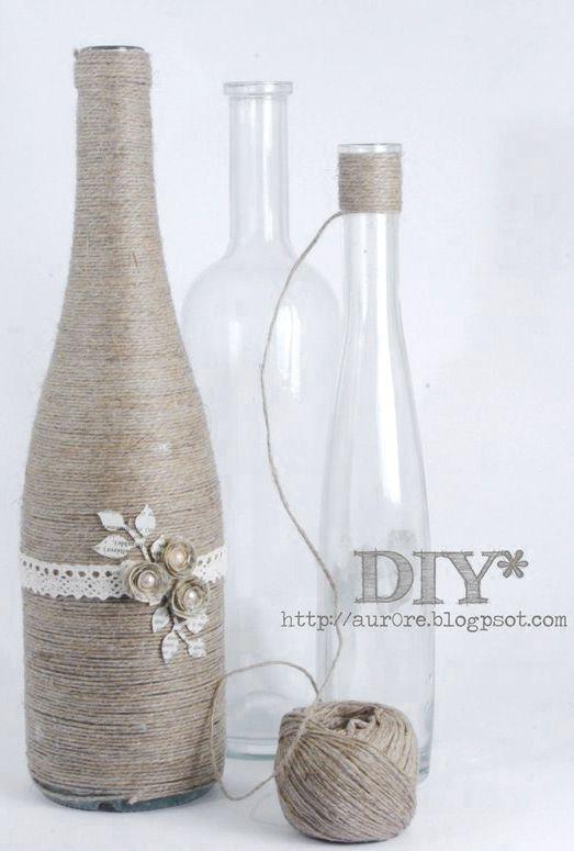 Wedding Craft Idea Diy Old Bottles Wrapped In Twine Craft Ideas