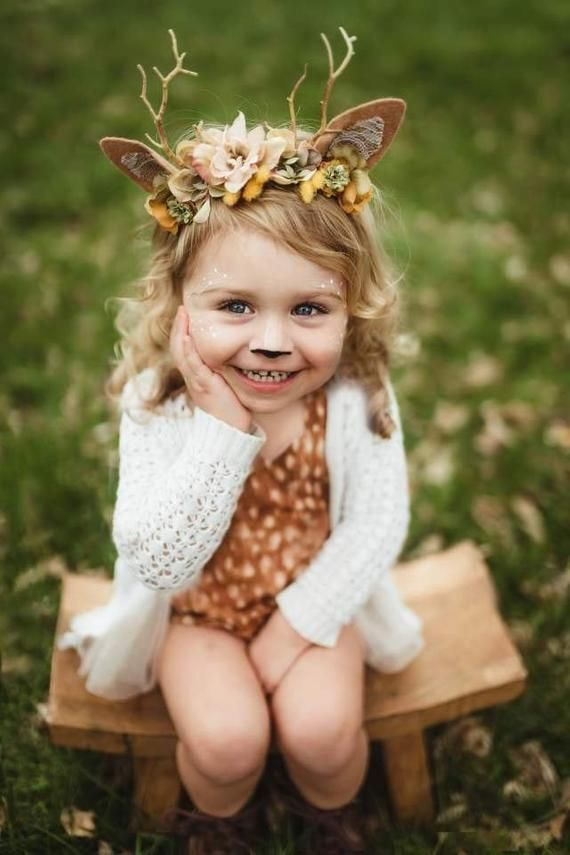 FAWNA --fall colors mustard tan deer fawn headband newborn infant toddler prop halloween costume
