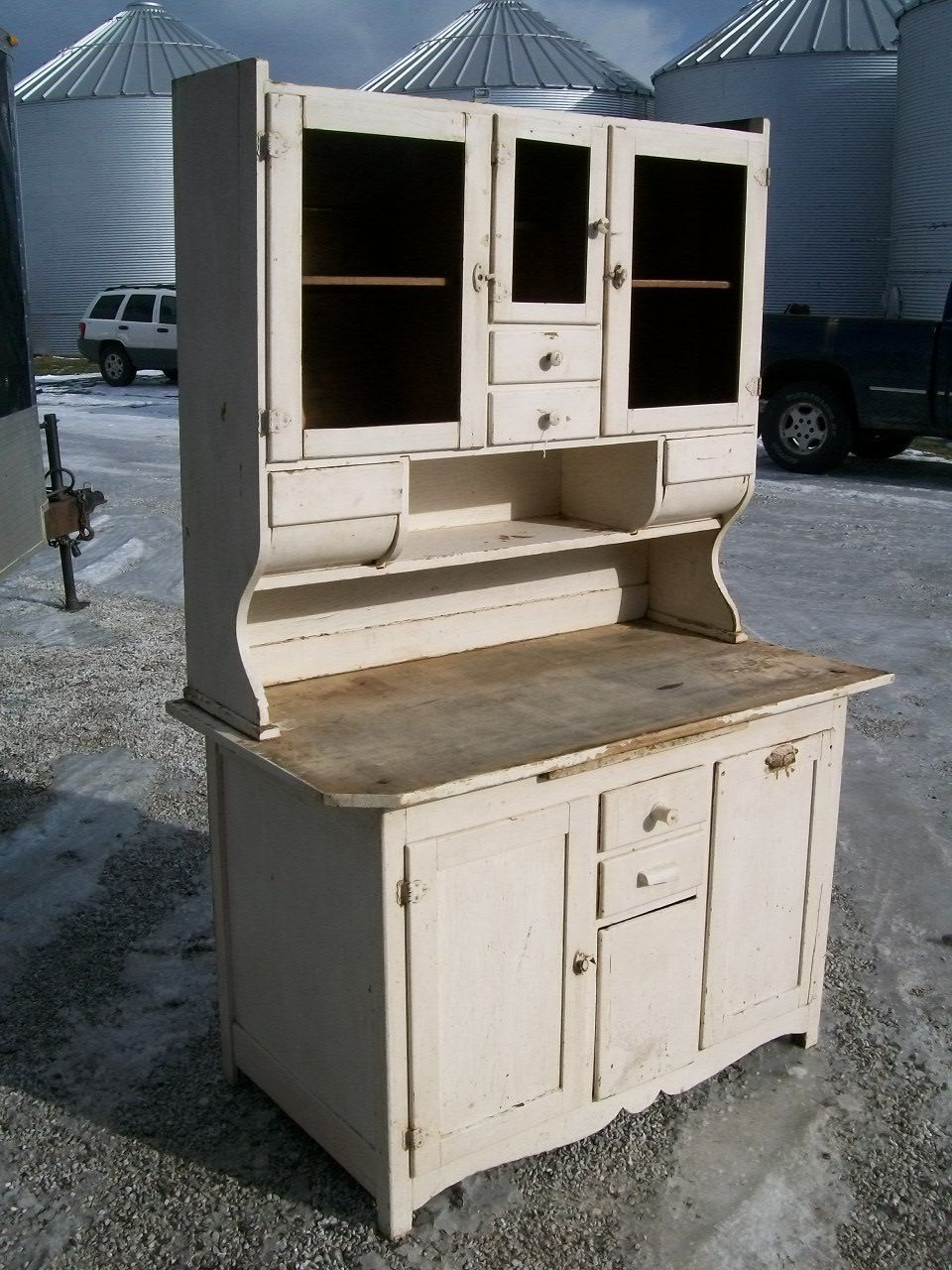 Oak Bakers Kitchen Cupboard 2 Piece Wooden Cabinet For Flour Sugar And Es From Late 1800 S 589 00 Via Etsy