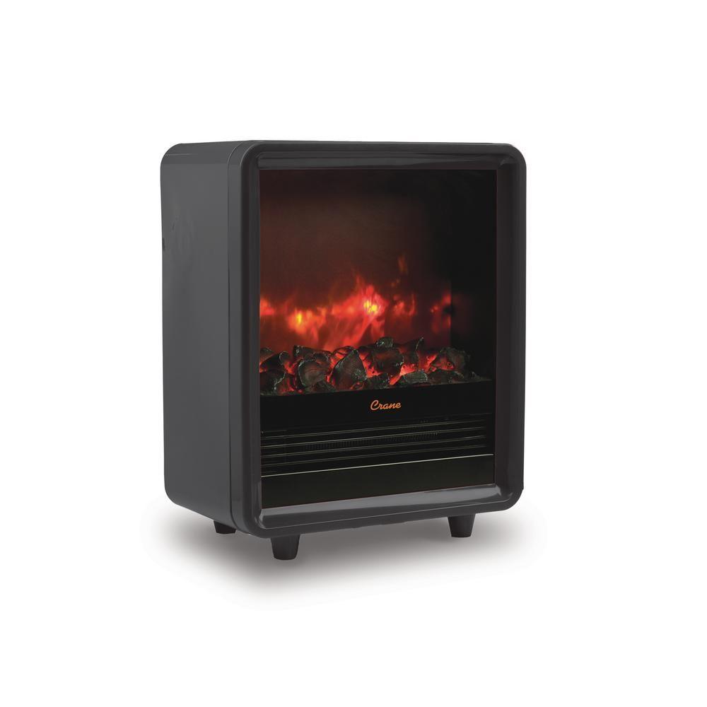 Crane 1500 Watt Mini Fireplace Heater Black Ee 8075bk With