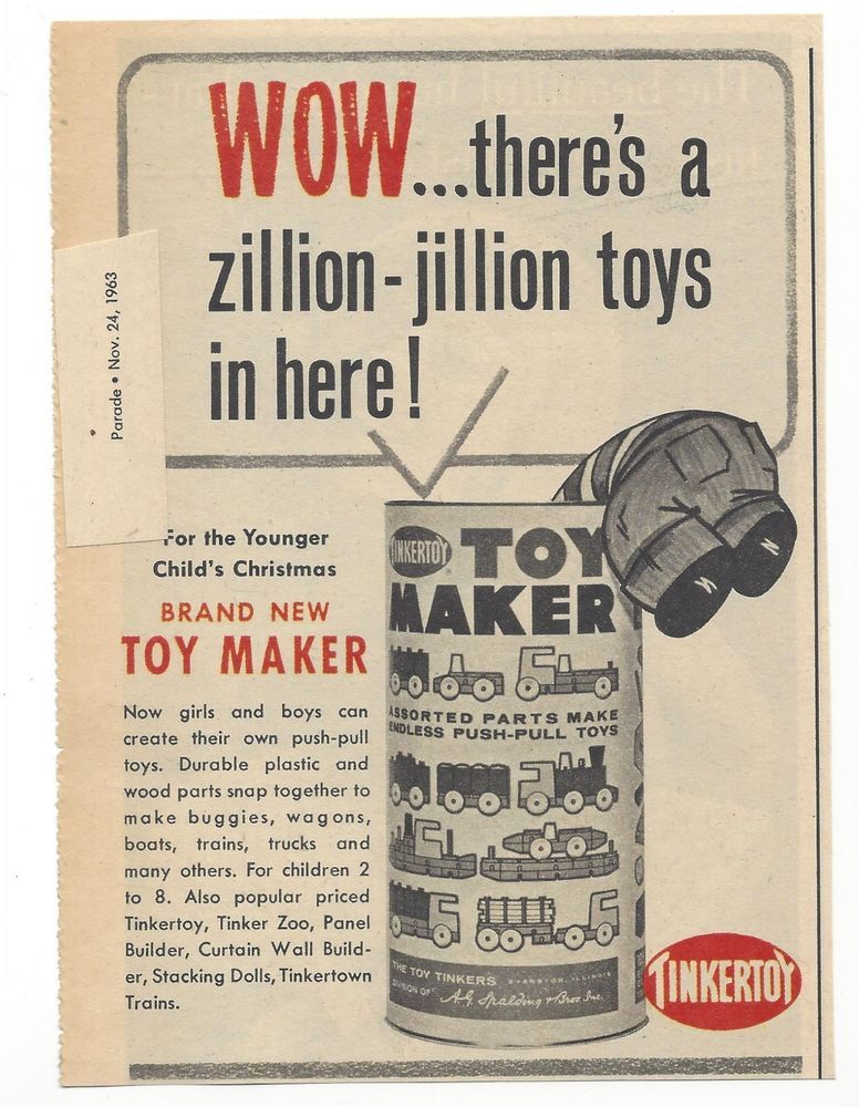 Vtg 1963 Tinkertoy Toy Maker Christmas Ad Tinker Toy Kids Vintage