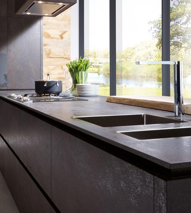 contemporary kitchen - dark - no upper cabinets - window wall