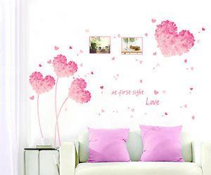 rose coeur amour sticker mural stickers d coration autocollant salon chambre mur coeur amour. Black Bedroom Furniture Sets. Home Design Ideas