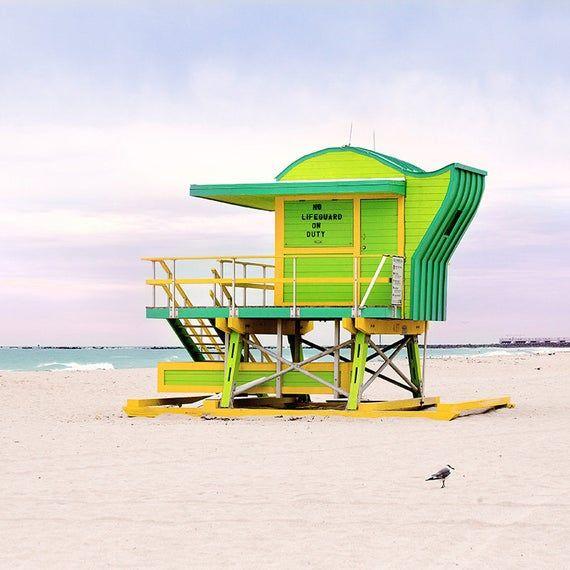 Green Beach Hut Lifeguard Stand Tower Coastal Print Large Wall Art