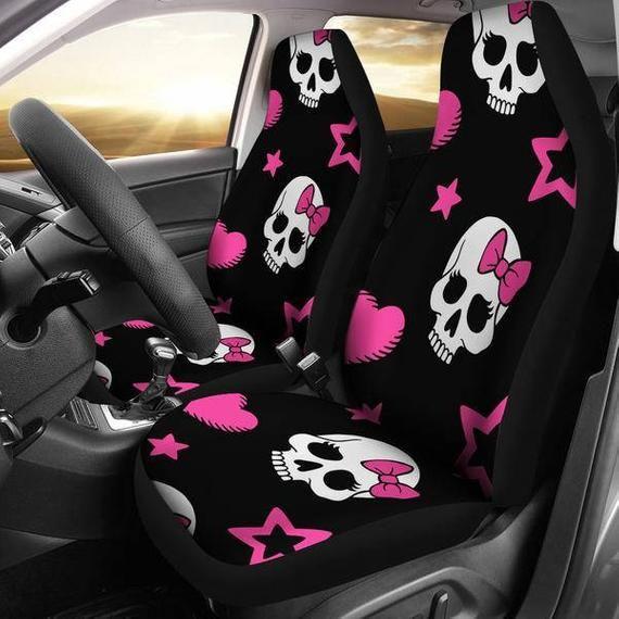 Magnificent Sugar Skulls Pink Bow Micro Fiber Car Seat Covers Suv Seat Machost Co Dining Chair Design Ideas Machostcouk