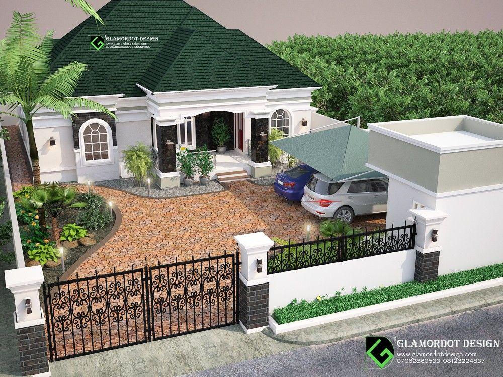 Landscape Design 3 Bedroom Bungalow In Port Harcourt Nigeria Beautiful House Plans Bungalow House Design Bungalow Design