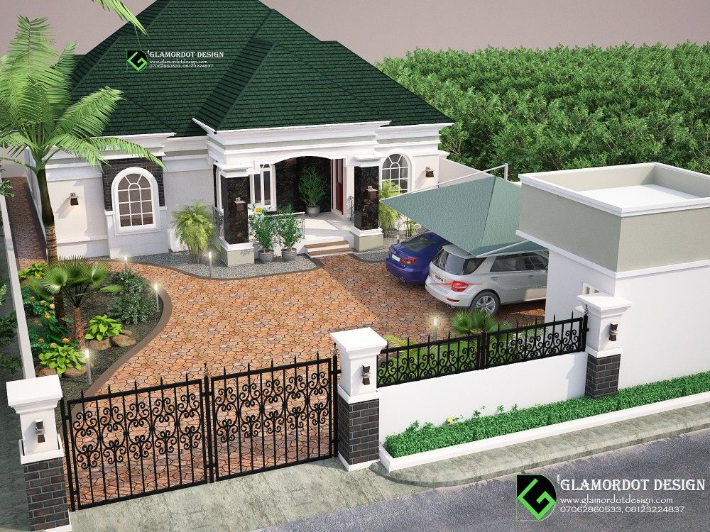Landscape Design 3 Bedroom Bungalow In Port Harcourt Nigeria Modern Bungalow House House Plans Mansion Bungalow House Design