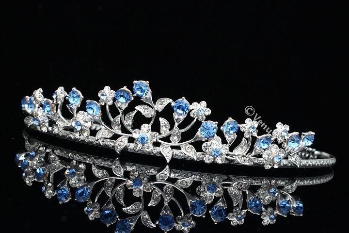 Bridal Wedding Blue Crystal Rhinestone Prom Crown Tiara V662 | eBay