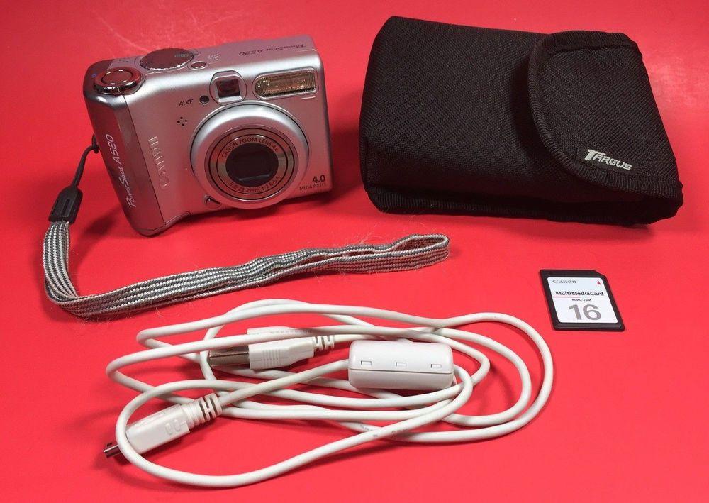 Canon Powershot A520 4 0mp Digital Camera Bundle Memory Card And Card Reader Canon Powershot Digital Camera Card Reader